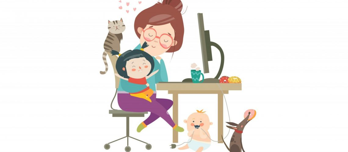 Mutter im Home Office, belagert von Kindern und Haustieren.